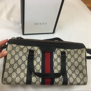Auth Gucci GG Web Boston Bag 🤩 VINTAGE